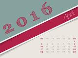 Simplistic april 2016 calendar design