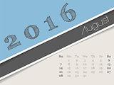 Simplistic august 2016 calendar design