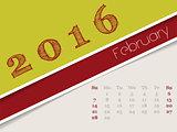 Simplistic february 2016 calendar design