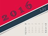 Simplistic july 2016 calendar design