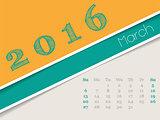 Simplistic march 2016 calendar design