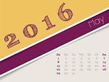Simplistic may 2016 calendar design