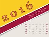 Simplistic november 2016 calendar design