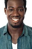 Closeup portrait of smiling black teenager