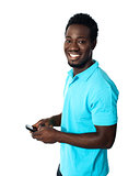 Handsome african man using cellphone