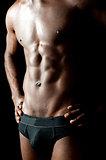 Shirtless underwear male model posing in style