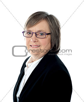 Corporate woman posing in front of camera