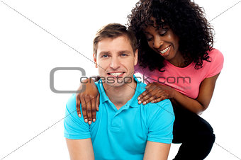 Attractive teenage love couple posing