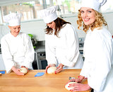 Female chefs at work in a restaurant kitchen