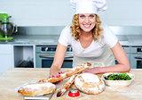 Bakery woman preparing healthy food