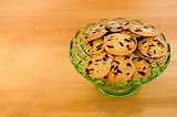 Chocolate chip cookies in a glass bowl