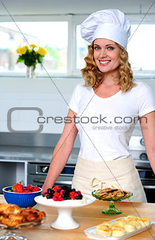 An isolated shot of a beautiful  woman chef