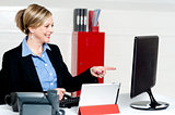 Female executive pointing at computer screen