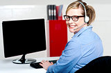 Portrait of cheerful customer support executive