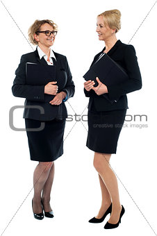 Corporate women discussing business