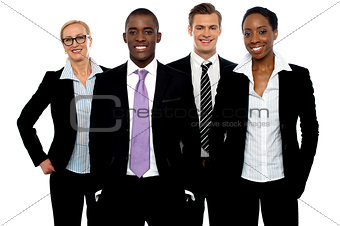 Group of different business people in a line