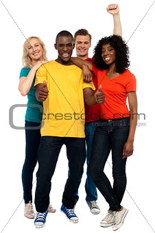 Portrait of joyful young group of friends