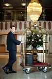 Handsome concierge pushing the luggage cart