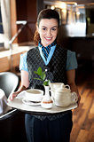 Profile shot of a cheerful female waitress