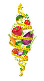 Concept of diet. Measuring tape spiral twists vegetables in the
