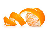 orange peeled skin on a white background