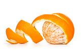 orange peeled skin on a white background