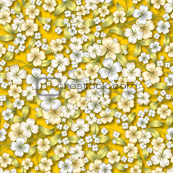 abstract white floral ornament on yellow