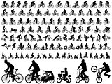 high quality bicyclists silhouettes