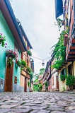 alley with colorful houses in alsace