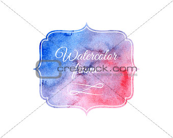 Watercolor label design element