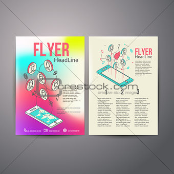 Abstract  Brochure Flyer design vector template. social Networks