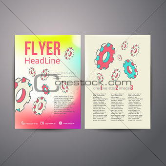 Abstract Brochure Flyer design  Human head with gears