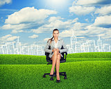 Young Businesswoman Sitting on Chair at Grassland