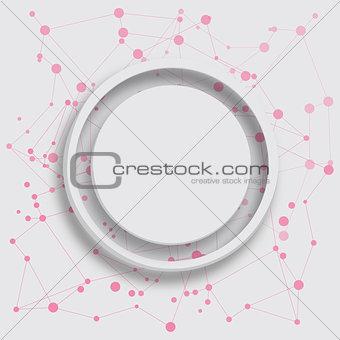 Grey circle on pink dots