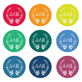 Colorful sale tags with laurel wreath