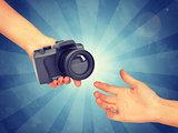 Hand passing camera