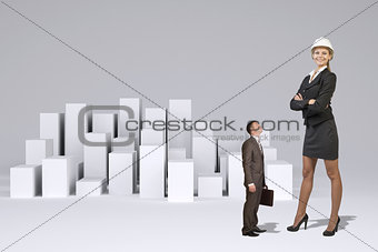 Small businessman looking at large businesswoman. Many white cubes as backdrop
