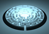 Dark round maze with an illuminated center