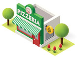 Vector isometric pizzeria