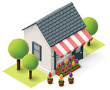 Vector isometric florist shop