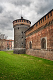 The Outer Wall of Castello Sforzesco (Sforza Castle) in Milan, I