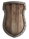 medieval wooden coat of arms shield isolated