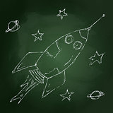 Hand drawn chalk style illustration of a rocket