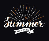 Hand drawn vintage summer design element with sunburst background