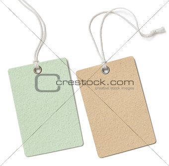 Blank cloth price tag or label set isolated on white