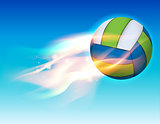 Flying Flaming Volleyball in Sky Illustration