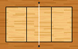 Aerial View of Hardwood Volleyball Court Illustration