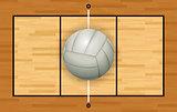 White Volleyball on Hardwood Court Illustration