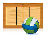 Volleyball and Court Copy Space Illustration