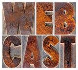 webcast word  in letterpress blocks